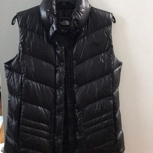 North Face Shiny Black Puffer Vest!